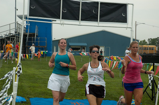 Three women at finish line
